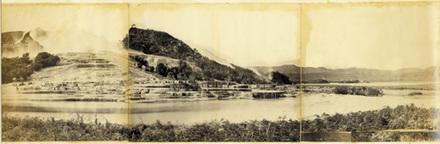 Te Tarata (White Terrace) & Rotomahana Lake. General view.