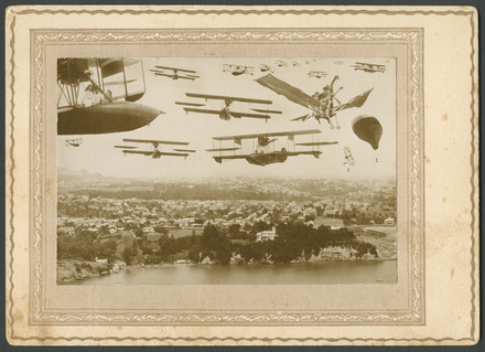 Flying boat with Moa, Balloon and Planes