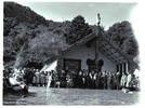 Group of people standing on marae in front of carv...