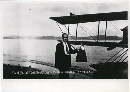 First air mail, Auckland to Russell.  Pilot: George Bolt