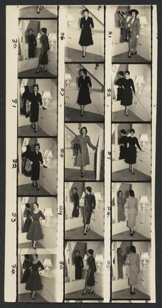 [Proof sheet of models posing in garments designed by Emma Knuckey]