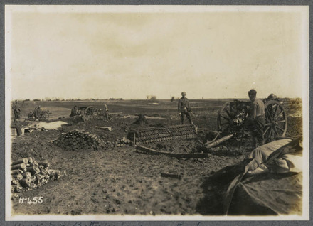 N.Z. Batteries firing on the Somme - and every shell killing Germans who were…
