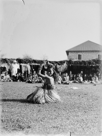 [Portrait of a young Tongan girl during ceremony]