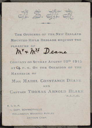 Wedding invitation from Miss Mabel Constance Deane and Captain Thomas Arnold Blake to…