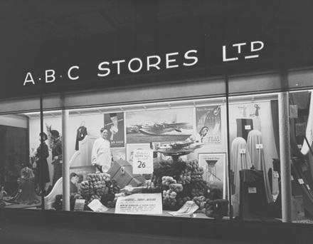[ABC Stores' window display]