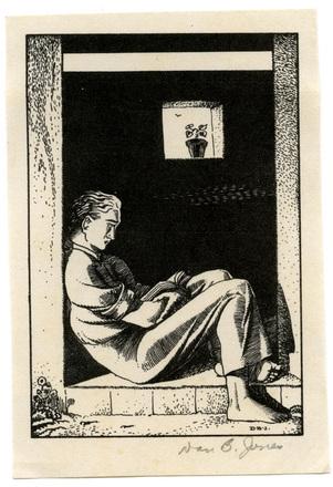 [Man sitting in doorway reading]