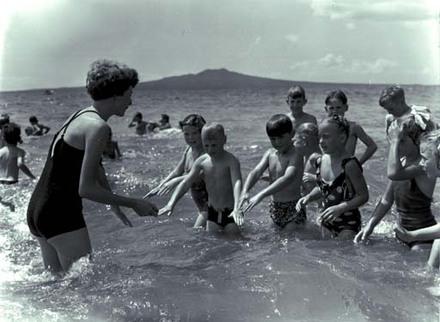Children bathing at Takapuna.