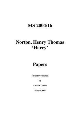 Henry Thomas Norton - Letters