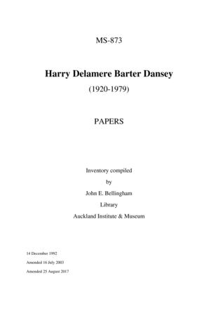 Harry Dansey - Papers