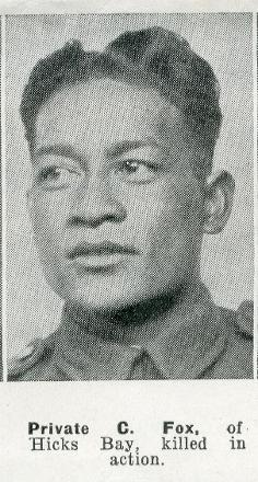 Private C. Fox, of Hicks Bay, Killed in Action - No known copyright restrictions.