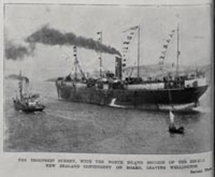 the troopship 'Surrey' with the North Island section of the 8th New Zealand Contingent on board leaving Wellington - No known copyright restrictions.