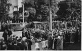 Horse drawn funeral cortege from St Davids Presbyterian Church, Khyber Pass, Auckland City to Waikumete Cemetery April 12, 1934 - No known copyright restrictions.