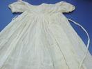 child's dress, White lawn, hand sewn. Square neck...