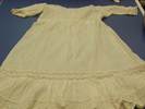 dress, child's; white muslin; pintucked, lace inse...