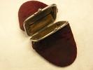 coin purse; crimson plush; two compartments, kid  ...