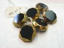 buttons, six, glass, black, octagonal with faceted...