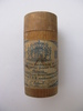 match box; round wooden cylinder with blue and whi...