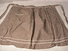 brown and white gingham apron with white ric rac t...