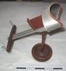 stereoscope; aluminium viewer with crimson plush e...