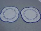 doilies, pair, linen, quatrefoil shaped with Chine...