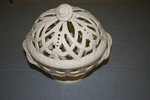 bowl, lidded, white with openwork