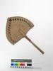 fan; plaited coconut frond; dyed-black pandanus st...