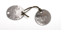 identity tags (pair dog tags) issued to 425405 Maj...