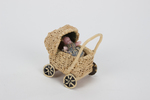 toy pram (for dolls house) straw; cream coloured; ...