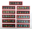 11 toy magic lantern slides, hand painted