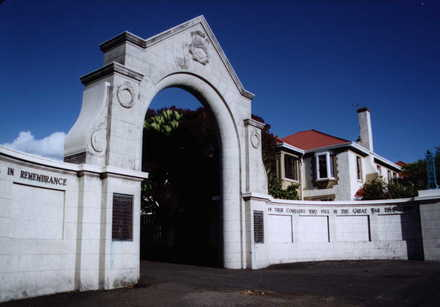 New Plymouth Boy's High School memorial gate (Photo G. Fortune in 2002) - Image has All Rights Reserved