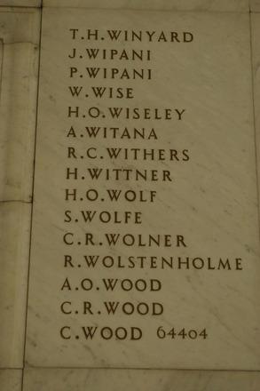 Auckland War Memorial Museum, World War 1 Hall of Memories Panel Winyard, T.H. - Wood, C. (photo J Halpin 2010) - No known copyright restrictions