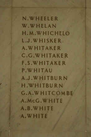 Auckland War Memorial Museum, World War 1 Hall of Memories Panel Wheeler, N. - White, A. (photo J Halpin 2010) - No known copyright restrictions