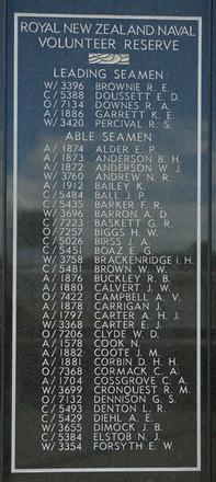 New Zealand Naval Memorial, Devonport, Panel 10: Royal New Zealand Naval Volunteer Reserve - Leading Seamen, Able Seamen Alder - Forsyth (digital photo John Halpin 2011) - CC BY John Halpin