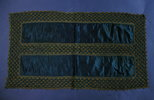 antimacassar; light navy blue satin, blue and gold...