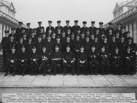 ROYAL NAVAL VOLUNTEER RESERVE, [ROYAL NAVAL COLLEGE GREENWICH] c1917 Officers Group Photo.Back row- T. Pierard, R.W. Gunson, H. Hamilton, H.E. Goodwin, G.D. Hill, C.I. Denham, S.P. Dalton , W.A. Wilson, L. Stubbs, H.A. Rhind, G.T. George, C.R.G. Allen. Fourth row- T. Turnbull, H.V.M. Hazard, R.A. Adams, R. Urquhart , R.M. Watson, S.P. Simpson, G.L. Hancock, H.C. Spinley, C.V. Brown, G.C. Maltby, B. Spencer, H.R. Cole. Third row- W.H. Hislop, A.T. Black, W.P. Endean, H.N. Jarvis, R.A. Kirkwood, A.G. Jackson, J.F.S. Briggs, A.C.W. Cozens, S.R. Mason, W.A. Currie, W.A.R. Jones, W.S. Douglas. Second row -F.C. Burgess, G. Harden, H.W. Harris, D.E.J. MacVean, A.B. Welch, M.G. Raymond, L.A. Hooke, G.F. Bothamley, M.S. Kirkwood, W.A.H. Garden, L.M. Hare, F.J. Treanor, J.S. Hines, C. Harrison-Smith Front row- W.J. Connors, A.J. Dean, Lieut J.O. Ingram, Nav.Instr. A.E. Monro, Sir Henry B. Jackson, Capt. W.H. Montanaro, Lieut. W.J. Le Lacheur, Lieut. E.F. McLeod, Lieut. W.F. Watson, H.C. Armitage, W.L. Sheffield. (Copyright © Royal New Zealand Navy Museum. Photo number ABX 0014. All enquiries for use: https://forms.nzdf.mil.nz/navy/museum/contactform.asp )