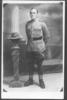 Portrait, WW1, studio photograph, postcard stamped, unfranked (front), James Arthur Hunt (7/2275) ghe is wearing machine gun hat badge. - No known copyright restrictions