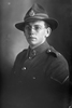1/4 portrait of Lance Corporal Hubert Waters Jacka, Reg No 54883, of the 28th Reinforcements, E Company. (Photographer: Herman Schmidt, 1917). Sir George Grey Special Collections, Auckland Libraries, 31-J3152. No known copyright.