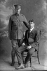 Full length portrait of the Privates Silich, Brothers Anthony, Reg No 8/3401 and Percy Lorenzo, Reg No 8/3402, both of the 8th Reinforcements, Otago Infantry Battalion, - D Company. (Photographer: Herman Schmidt, 1915). Sir George Grey Special Collections, Auckland Libraries, 31-S1035. No known copyright.