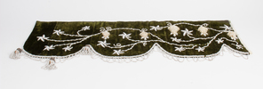 Mantle drape in green velvet ornamented with white...