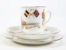 cup, saucer and plate set, WWI souvenir descriptio...
