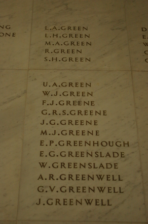 Auckland War Memorial Museum, World War 1 Hall of Memories Panel Green, L.A. - Greenwell, J. (photo J Halpin 2010)