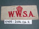 Women's War Service Auxiliary (WWSA) armband, belo...