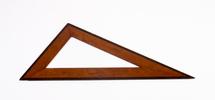 large wooden set-square description: bi-coloured m...