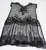 dress, beaded overdress black cotton net, unshaped...