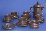 coffee set, brown vitrified stoneware, coffee pot,...