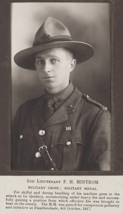 Photograph of Sergeant Frederick Harold Mintrom 26363 in uniform. Image kindly provided by Max Edge (August 2017). Image has no known copyright restrictions.