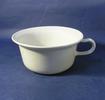 large chamber pot, white, tapered body, flared rim...