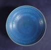 bowl, blue, incised line design