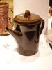 coffee pot and lid, dark brown, black line decorat...