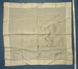handkerchief, cream silk, embroidered initials DL...
